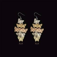 Ladies Ear Drop Jewelry 9Pcs Openwork Butterfly Earrings Light Brown