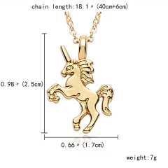 Women Colorful Lovely Horse Animal Pendant Necklace Gold Tone Jewelry Gift New Gold