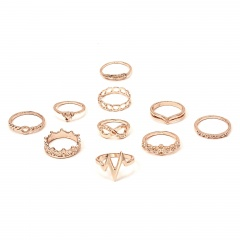Women Silver/Gold Boho Stack Plain Above Knuckle Ring Midi Finger Tip Rings Set 10pcs-Feather