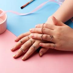Women Silver/Gold Boho Stack Plain Above Knuckle Ring Midi Finger Tip Rings Set 10pcs-Elephant flower geometry