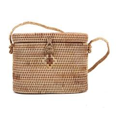 Hand-Woven Rattan Bag Straw Purse Handmade Tote Cross-body Beach Woven bag