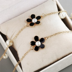 Fashion Flower Pearl Necklace Long Chain Sweater Chain Women Gift Black