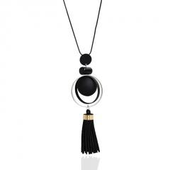 Women Ladies Bohemian Tassel Necklace Sweater Chain Fashion Jewlry Gift Black