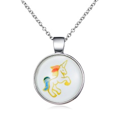 Fashion Round Horse Necklace Colorful