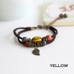 Rinhoo Bohemia Jewelry Men Bracelets Vintage Beaded Ceramic Leather Bracelet & Bangles for Women Colorful Bead Leaf Pendant Bell Bracelet  4