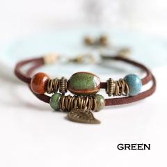 Rinhoo Bohemia Jewelry Men Bracelets Vintage Beaded Ceramic Leather Bracelet & Bangles for Women Colorful Bead Leaf Pendant Bell Bracelet  5