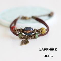Rinhoo Bohemia Jewelry Men Bracelets Vintage Beaded Ceramic Leather Bracelet & Bangles for Women Colorful Bead Leaf Pendant Bell Bracelet 6
