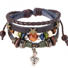 Musical Note Beaded Vintage Leather Bracelet musical