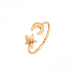 Opening Adjustable Star-Moon Joint Ring Women Gold