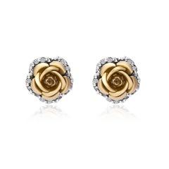1 Pair Full Diamond Crystal Rose Flower Ear Earrings Gold