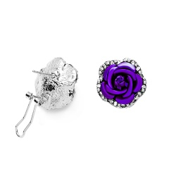 1 Pair Full Diamond Crystal Rose Flower Ear Earrings Purple
