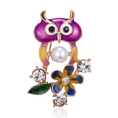 Christmas Enamel Peacock Bee Owl Spider Bird Brooches Plant Animal Brooch Pin Banquet Weddings Jewelry Owl 1