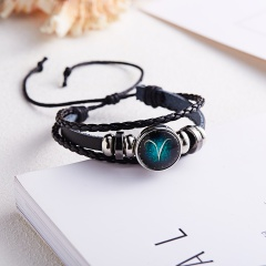 RINHOO Fashion 12 Constellations Leather Zodiac Sign Beads Bangle Bracelets For Women Men Boys Jewelry Travel Bracelets & Bangle Bracelet 1