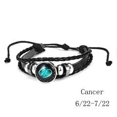 RINHOO Fashion 12 Constellations Leather Zodiac Sign Beads Bangle Bracelets For Women Men Boys Jewelry Travel Bracelets & Bangle Bracelet 4