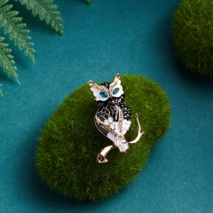 Rinhoo Fashion Rhinestone Crystal Enamel Brooch Clothes Accessories Night Owl Insect Brooches Jewelry Pins For Suit Dress owl1