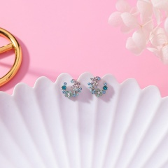 Rhinestone-encrusted flower wreath butterfly studs (size 1.2cm) opp Flower