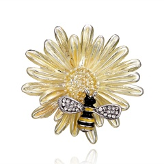 Gold Silver Bee Flower Small Pins Brooches Jewelry Gold