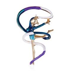 Cute Temperament Gymnastics Girl Dancer Crystal Cartoon Brooch Pins For Women High Quality Hot Fashion Jewelry Wholesale Dancing Girl 1