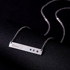 Fashion Crystal Engraved Rectangular Pendant Necklace DIY Custom Gift Silver