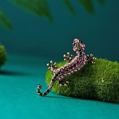 Fashion Cute Animal Gecko Brooches Alloy Crystal Women's Brooch Pins Badges Clothes Jewelry Girl Romantic wedding Gifts Supplies gecko