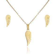 Women Heart Flower Feather Butterfly Necklace Pendant Earrings Jewelry Set wing