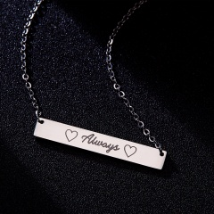 Fashion Always Lettering Horizontal Bar Necklace Personalized Sliver