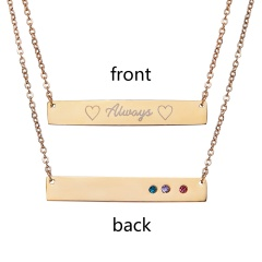 Fashion Always Lettering Horizontal Bar Necklace Personalized Gold