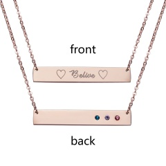 Belive Lettering Horizontal Stainless Steel Necklace Personalized Engraved Rose Gold
