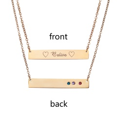 Belive Lettering Horizontal Stainless Steel Necklace Personalized Engraved Gold
