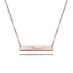 Blessed Lettering Horizontal Bar Letter Necklace Personalized Engraved Rose Gold