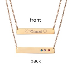 Blessed Lettering Horizontal Bar Letter Necklace Personalized Engraved Gold