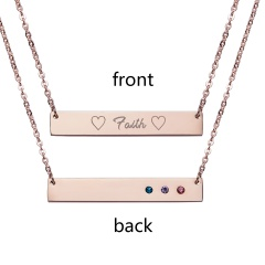 Faith Lttering Horizontal Necklace Personalized Engraved Rose Gold