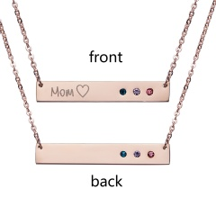 Lettering Horizontal Bar Letter Necklace Personalized Engraved Rose Gold