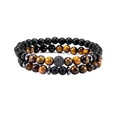 Rinhoo 2pc/sets Natural Stone Bracelet Beads Bangles Micro Pave CZ 6mm Disco Ball Charms Beaded Bracelets For Women Men Jewelry Bracelet 2