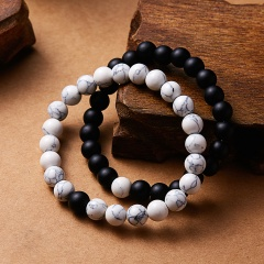 2Pcs/Set Bracelets Bangles Classic 8MM Beaded Bracelets Natural Stone White Black Yin Yang Distance Bracelet For Women Men Braceet1