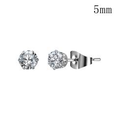 Women Fashion Six-Claw Geometric Round Zircon Stud Earrings 4/5/6/7/8/10mm white 5mm