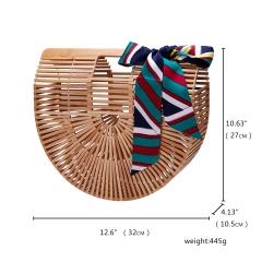 Women's Bamboo Bag Handbag Beach Bag Handmade Tote Lady Summer Bag 32*10.5*27cm