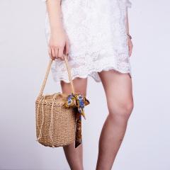 Knitting Straw Handbag Hand-Woven Bag with Inside Pockets Woven bag