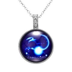Twelve Constellation Time Gemstone Pendant Luminous Necklace Capricorn