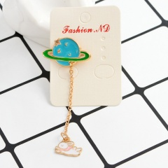 Colorful Earth Cat Chain Small Pins Brooches Wholesale Blue
