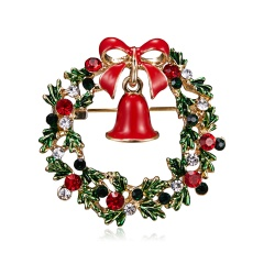 New Christmas Tree Snowman Brooches for Women Fashion Jewelry Festival Enamel Brooch Pins Good Gift Winter Coat Cap Brooch Garland bells