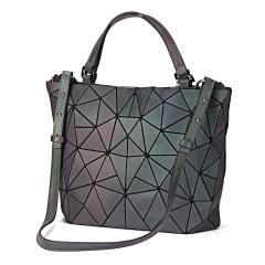 Luminous bag Women Geometry Tote Quilted Shoulder Bags Hologram Laser Plain Folding Handbags geometric Large capacity Medium Size