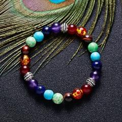 Rinhoo Fashion 7 Chakra Healing Yoga Reiki Prayer Beads Balance Beaded Warp Bracelet Braided Bangle Jewelry For Women Bracelets Bracelet 1