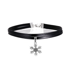 Charm Fashion Choker Necklace Unsex Velvet Leather Pendant Gothic Gift Jewelry Snowflake
