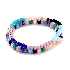 Women Natural Crystal Stone Chip Lady Bracelet Wristband Bangle Beads Jewelry Colorful