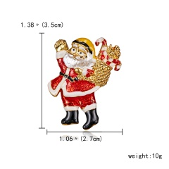 Rinhoo Hot Sale Enamel Santa Claus Brooch for Women Family Gift Home Decoration Clothes Pins Jewelry Accessories for Kids Gifts Santa Claus 1