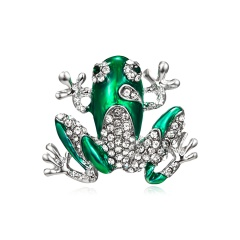 Fashion Pearl Crystal Frog Dragonfly Bird Brooches for Women Green Color Animal Brooch Pin Luxury Vintage Jewelry Coat Accessories Frog 2