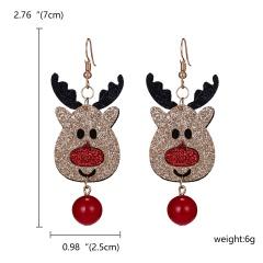 Cute Cartoon Deer Snowman Bells Santa Claus Earrings for Women Fashion Handmade Creative Christmas Gift Jewelry Female Brincos Deer