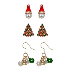 3 Pairs Women Christmas Earrings Crystal Pearl Bell Hat Tree Ear Stud Dangle 3 Pairs