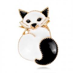Rinhoo Halloween Animal Pin Brooch Cat Dog Hedgehog Cow Enamel Badge Cute Lapel Pins Kawaii Brooches Animal Jewelry Cat 2